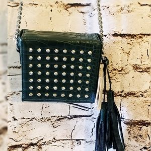 NWT Topshop Green Faux Croc Silver Studded Bag